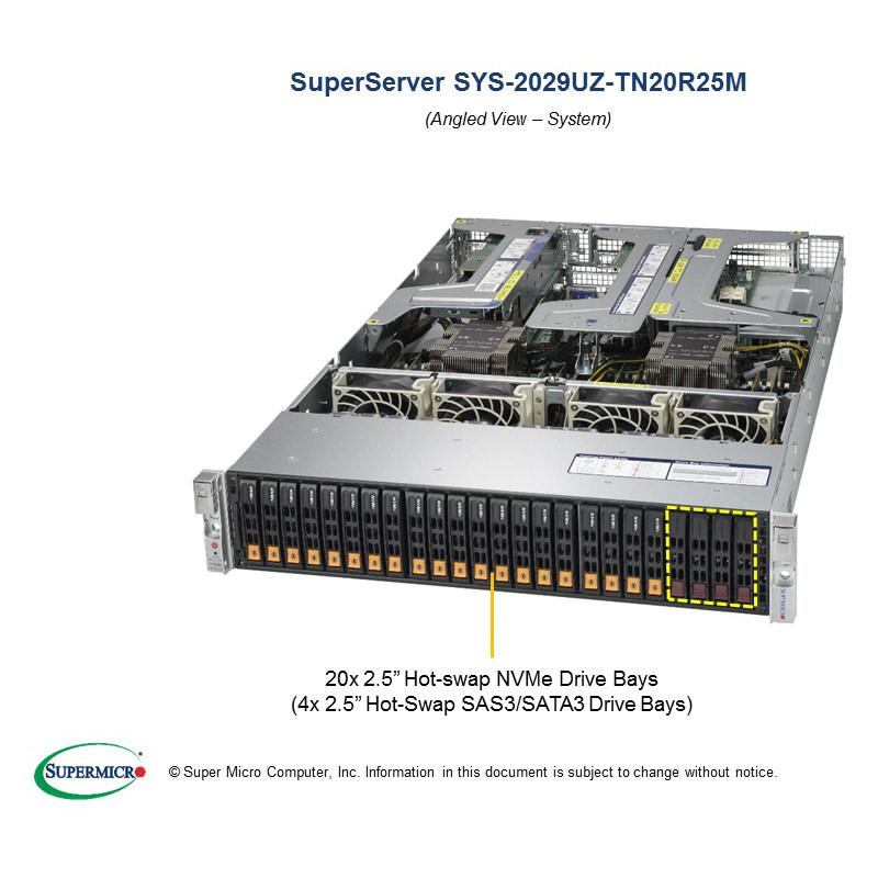 Barebone 2U Rackmount SuperServer,  Dual Intel Xeon Scalable Processors Gen. 2, Intel C621 chipset, Up to 6TB DDR4 ECC 2933MHz memory, 24 Hot-swap 2.5in Drive Bays (20 NVMe + 4 SAS/SATA3), Dual 25GbE SFP28 --- Complete System Only (Must Include CPU, MEM, HDD)