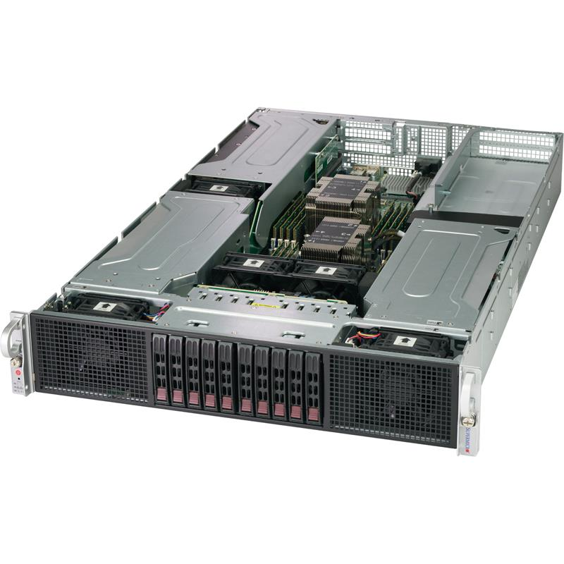 Barebone 2U Rackmount SuperServer, Dual Intel Xeon Scalable Processors Gen. 2, Intel C621 chipset, Up to 4TB DDR4 ECC 2933MHz memory, 10 Hot-swap 2.5in drive bays, Flexible Network with SIOM support --- Complete System Only (Must Include CPU and MEM)