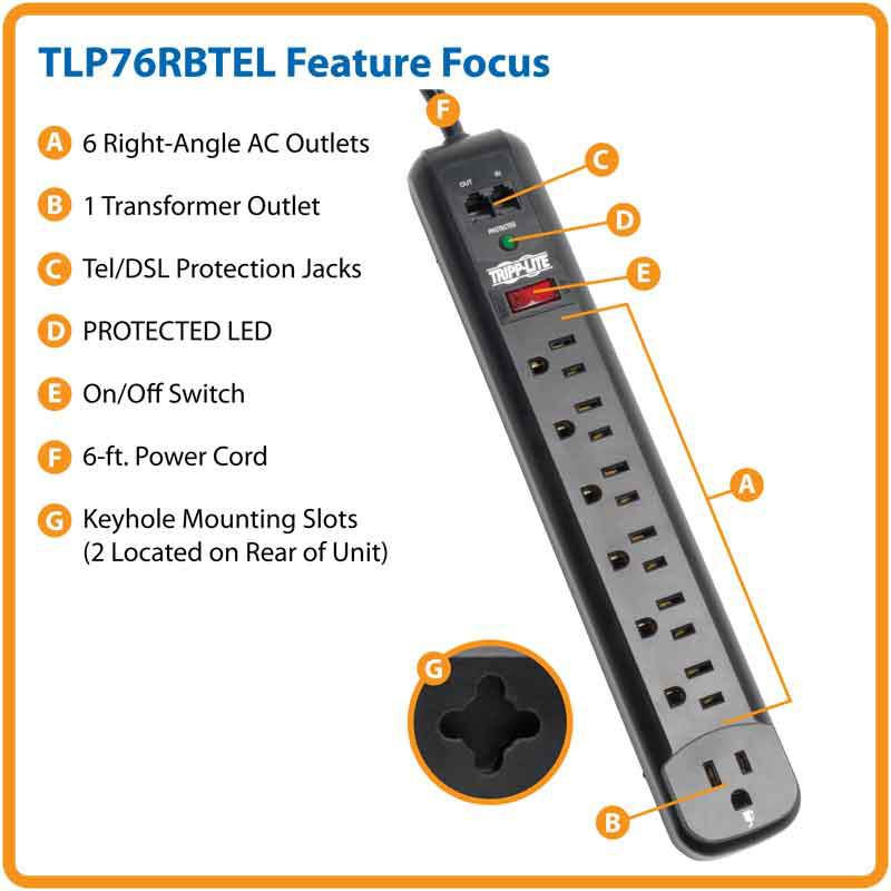 7 Outlet Surge Suppressor Right Angle