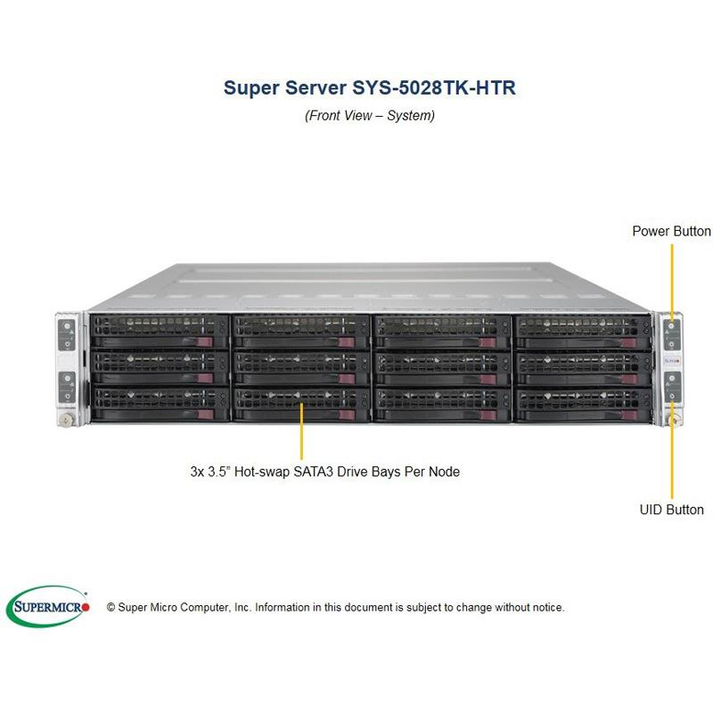 Barebone 2U Rackmount SuperServer with 4 Hot-Swap Nodes, each node includes a single Intel Xeon Phi 7230 Processor. Each node comes with Intel C612 chipset, up to 384GB DDR4 ECC 2400Mhz memory, 3 Hot-Swap 3.5in drive bays, Intel® i350 Dual Port Gigabit Ethernet --- Complete System Only (Must Include MEM and HDD)