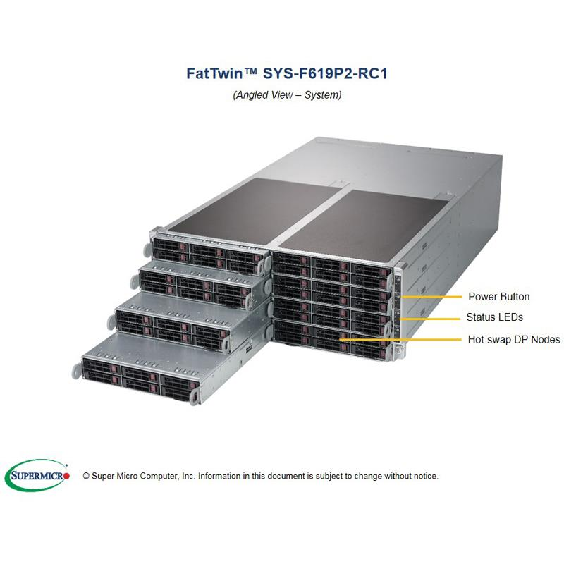 Barebone 4U Rackmountable SuperServer, Dual Intel Xeon Scalable Gen. 2 Processors, Intel C621 chipset, Up to 3TB DDR4 ECC 2933MHz memory, SAS3 via Broadcom 3108, 6 Hot-swap 2.5in drive bays