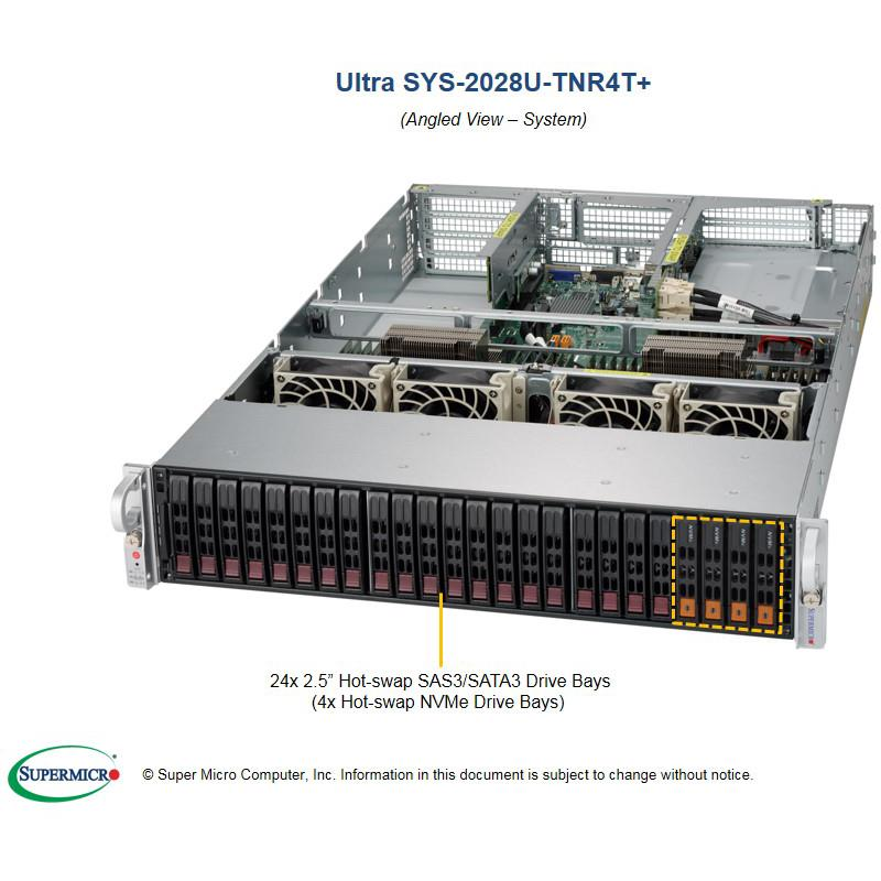 Server Rackmount 2U for Dual Intel Xeon processor E5-2600 v4/v3 family, up to 1.5TB DDR4, SATA3, IPMI, 4x 10GBase-T LAN and 2x NVMe ports, VGA, 24x 2.5in Hot-swap drive bays (8x SATA3 ports and 4x NVMe ports, by default), Redundant 80+ Titanium Power Supply