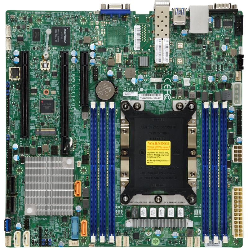 Supermicro X11SPM-TPF-O Motherboard Intel Xeon Processor Scalable Gen.2 Family Intel C622 chipset Single Socket P, Up to 1.5TB ECC 3DS LRDIMM Up to DDR4-2933MHz, 6 x DIMM slots, 2 x 10G SFP+, 12 x SATA3 (6Gbps) via C622, 11 x USB 3.0