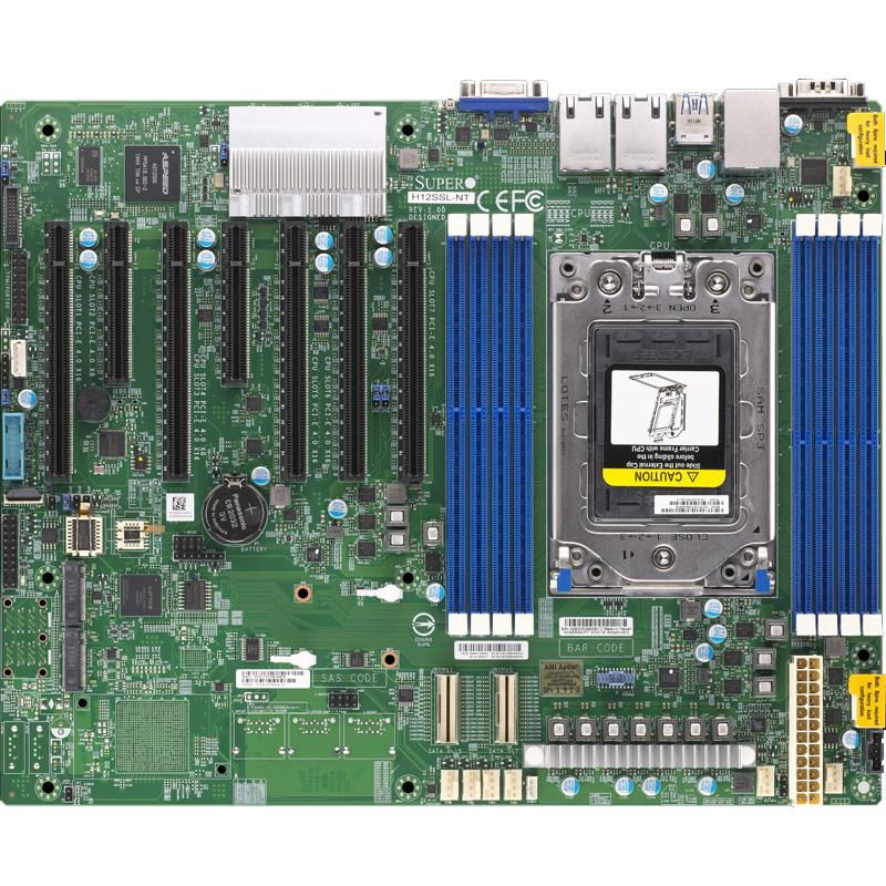 Supermicro H12SSL-NT Motherboard ATX Socket SP3 Single AMD EPYC 7002, up to 2TB DDR4 Reg ECC 3200MHz memory in 8 DIMM slots