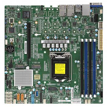 Supermicro X11SCM-F Motherboard microATX Single Socket H4 (LGA 1151) for Intel Xeon E-2100, Intel 8th Gen. Core i3 Series Processors - supports up to 128GB Unbuffered ECC DDR4-2666Mhz UDIMM in 4 memory slots