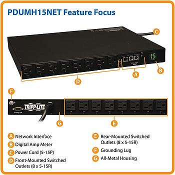Tripp Lite PDUMH15NET PDU Switched 120V 15A 5-15R 16-Outlets