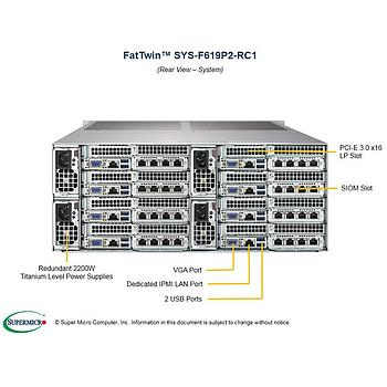 Supermicro SYS-F619P2-RC1 Twin Barebone Dual CPU, 8-Node
